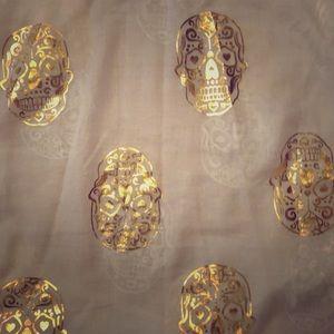 Accessories - Gold and White Calavera (skull) Scarf
